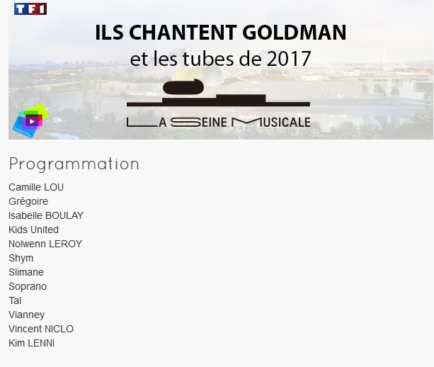 nolwenn on line forum tf1 goldman 40 ans de chansons enreg le 8 juin diff le 26 janvier. Black Bedroom Furniture Sets. Home Design Ideas